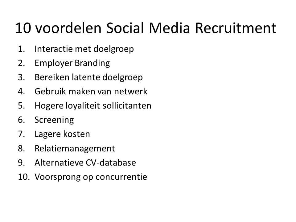 10 voordelen Social Media Recruitment 1.Interactie met doelgroep 2.Employer Branding 3.Bereiken latente doelgroep 4.Gebruik maken van netwerk 5.Hogere loyaliteit sollicitanten 6.Screening 7.Lagere kosten 8.Relatiemanagement 9.Alternatieve CV-database 10.Voorsprong op concurrentie