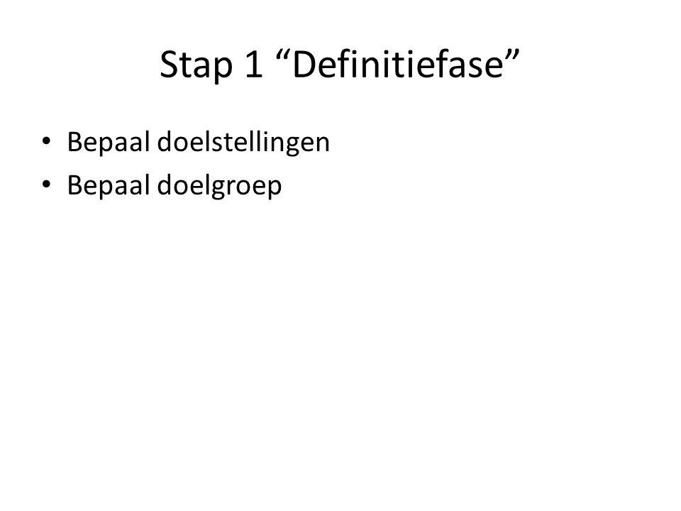 Stap 1 Definitiefase Bepaal doelstellingen Bepaal doelgroep