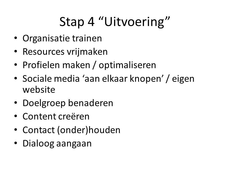 Stap 4 Uitvoering Organisatie trainen Resources vrijmaken Profielen maken / optimaliseren Sociale media 'aan elkaar knopen' / eigen website Doelgroep benaderen Content creëren Contact (onder)houden Dialoog aangaan