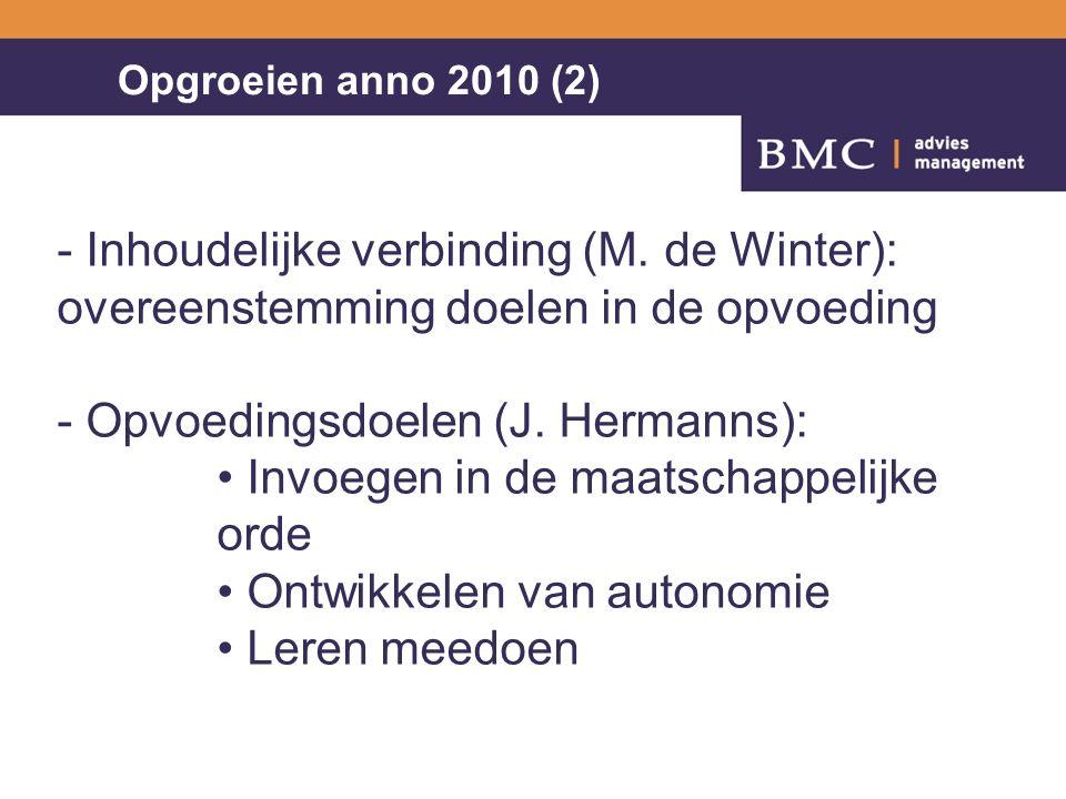 3NN/20043 Opgroeien anno 2010 (2) - Inhoudelijke verbinding (M. de Winter): overeenstemming doelen in de opvoeding - Opvoedingsdoelen (J. Hermanns): I