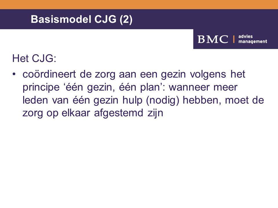 Basismodel CJG (2) Het CJG: coördineert de zorg aan een gezin volgens het principe 'één gezin, één plan': wanneer meer leden van één gezin hulp (nodig) hebben, moet de zorg op elkaar afgestemd zijn