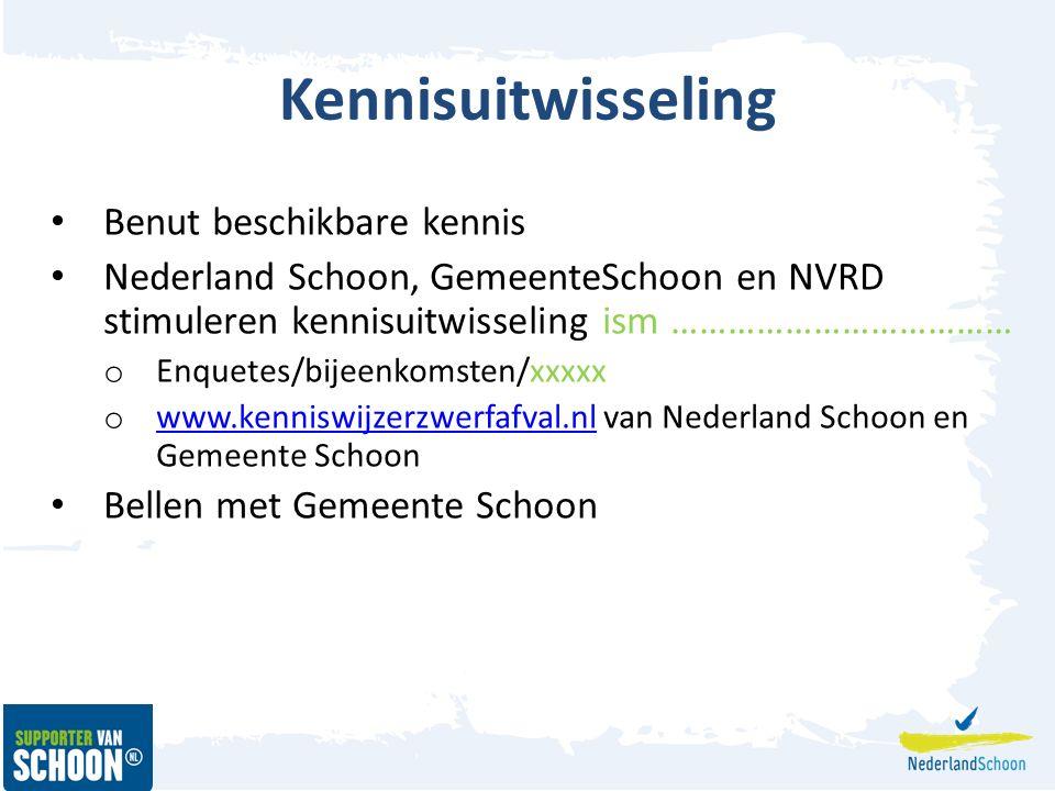 Kennisuitwisseling Benut beschikbare kennis Nederland Schoon, GemeenteSchoon en NVRD stimuleren kennisuitwisseling ism ……………………………… o Enquetes/bijeenkomsten/xxxxx o www.kenniswijzerzwerfafval.nl van Nederland Schoon en Gemeente Schoon www.kenniswijzerzwerfafval.nl Bellen met Gemeente Schoon