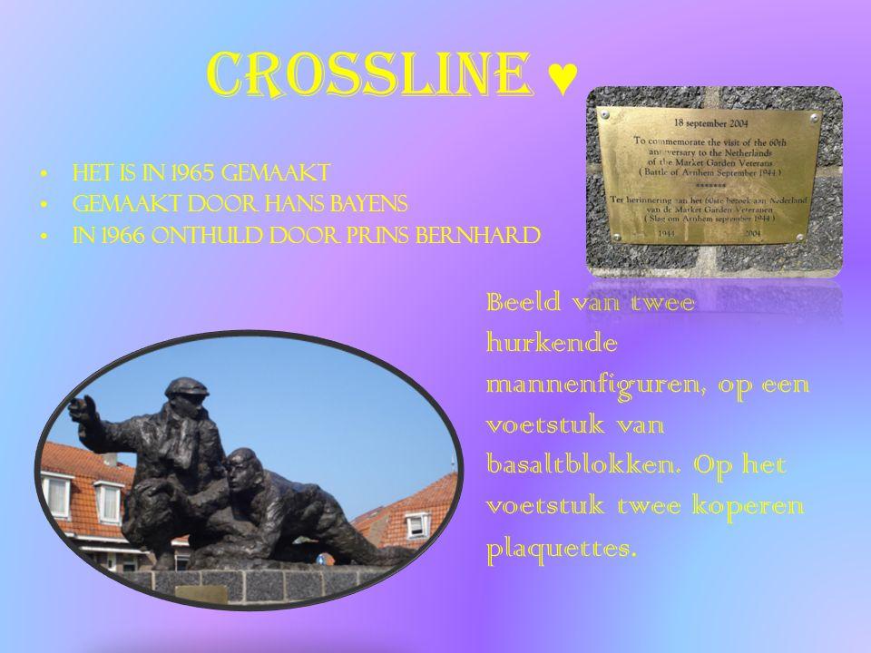 crossline ♥ Het is in 1965 gemaakt gemaakt door Hans Bayens in 1966 onthuld door Prins Bernhard Beeld van twee hurkende mannenfiguren, op een voetstuk van basaltblokken.