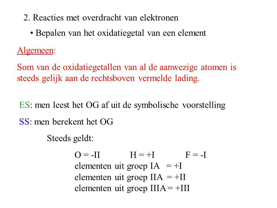 2. Reacties met overdracht van elektronen ES: men leest het OG af uit de symbolische voorstelling SS: men berekent het OG Steeds geldt: O = -II H = +I