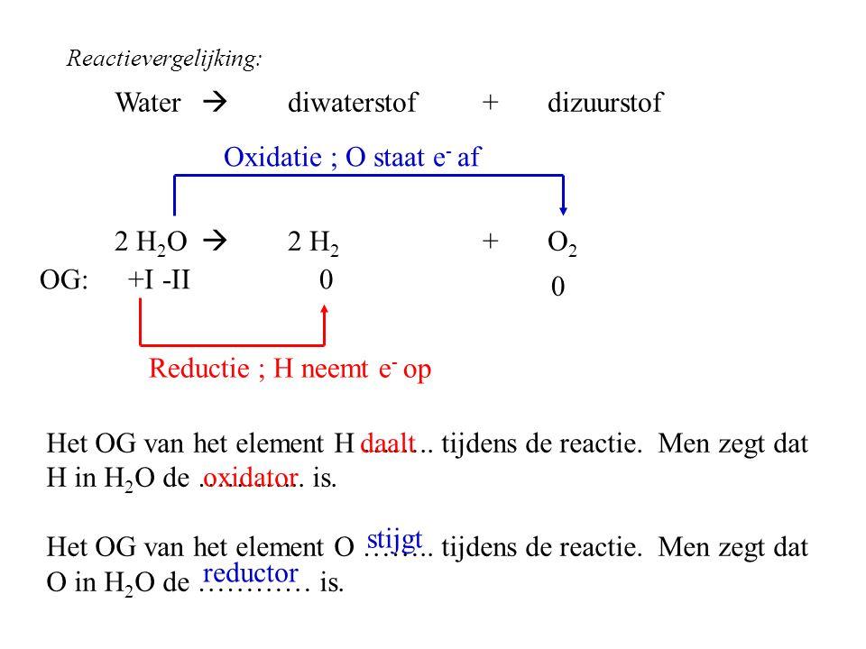 Water  diwaterstof + dizuurstof 2 H 2 O  2 H 2 +O 2 0 Reductie ; H neemt e - op Oxidatie ; O staat e - af Het OG van het element H …….. tijdens de r