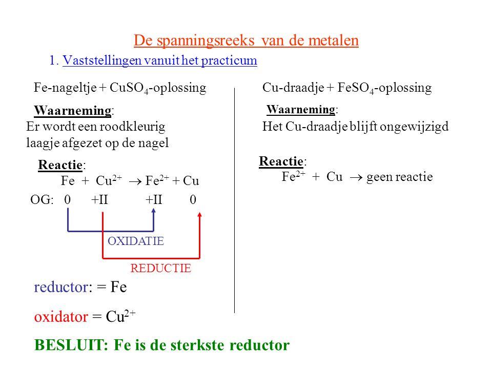 De spanningsreeks van de metalen 1. Vaststellingen vanuit het practicum Fe-nageltje + CuSO 4 -oplossing Waarneming : Er wordt een roodkleurig laagje a
