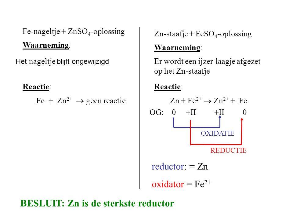 Fe-nageltje + ZnSO 4 -oplossing Waarneming : Het nageltje blijft ongewijzigd Reactie: Fe + Zn 2+  geen reactie OG: 0 +II +II 0 OXIDATIE REDUCTIE redu