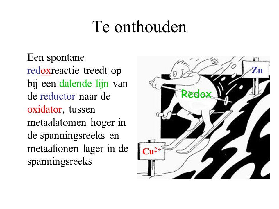 Te onthouden Een spontane redoxreactie treedt op bij een dalende lijn van de reductor naar de oxidator, tussen metaalatomen hoger in de spanningsreeks