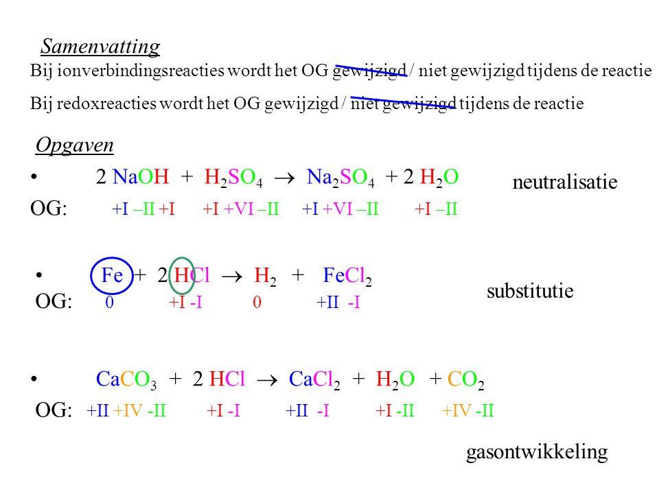Samenvatting 2 NaOH + H 2 SO 4  Na 2 SO 4 + 2 H 2 O OG: +I –II +I +I +VI –II +I +VI –II +I –II neutralisatie Fe + 2 HCl  H 2 + FeCl 2 substitutie Ca