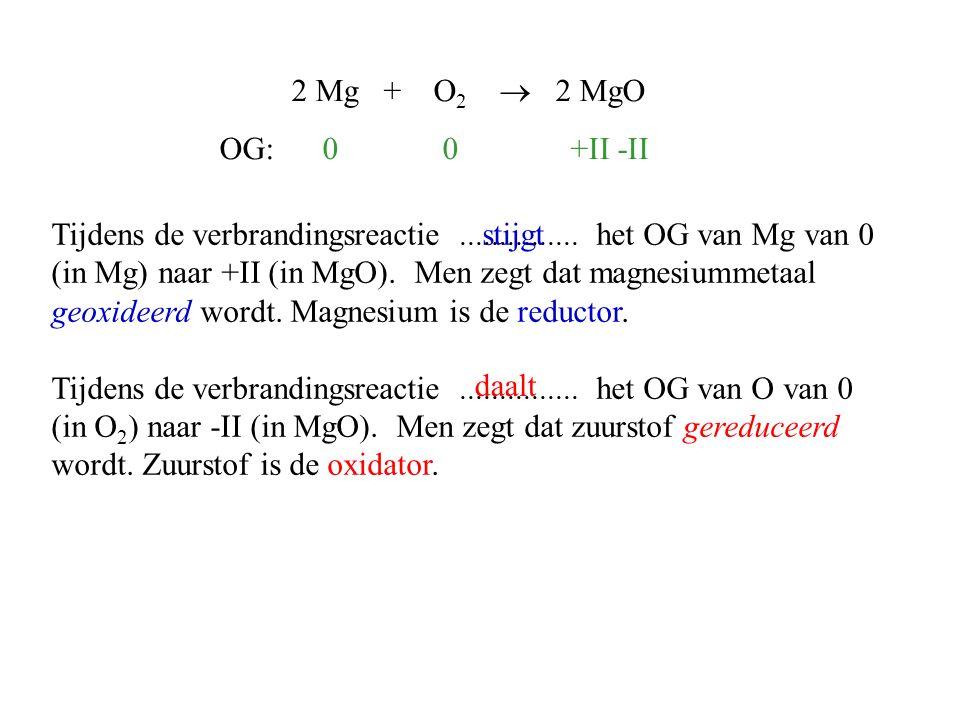 Tijdens de verbrandingsreactie............... het OG van Mg van 0 (in Mg) naar +II (in MgO). Men zegt dat magnesiummetaal geoxideerd wordt. Magnesium