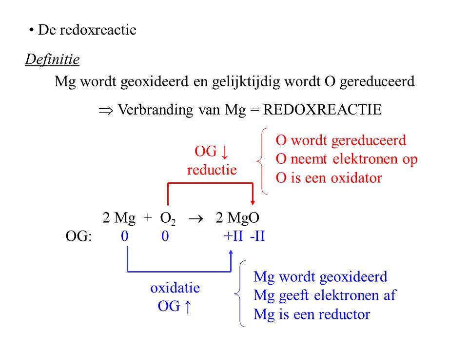 De redoxreactie Definitie 2 Mg + O 2  2 MgO OG:00+II-II O wordt gereduceerd O neemt elektronen op O is een oxidator OG ↓ reductie OG ↑ oxidatie Mg wo