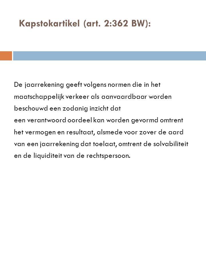 Kapstokartikel (art. 2:362 BW): De jaarrekening geeft volgens normen die in het maatschappelijk verkeer als aanvaardbaar worden beschouwd een zodanig