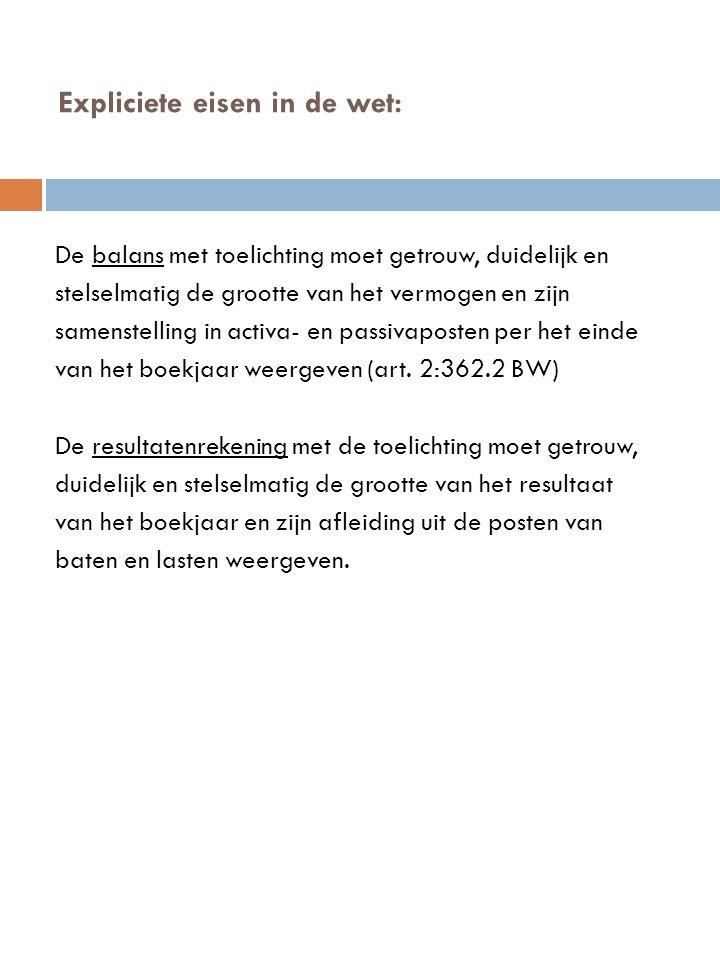 Regelgeving rond de jaarrekening  De Nederlandse wetgeving  BW titel 9, boek 2.