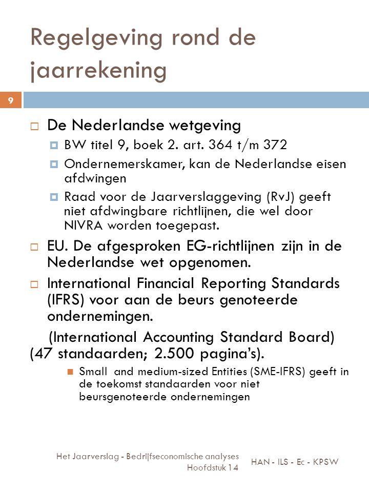 Regelgeving rond de jaarrekening  De Nederlandse wetgeving  BW titel 9, boek 2. art. 364 t/m 372  Ondernemerskamer, kan de Nederlandse eisen afdwin