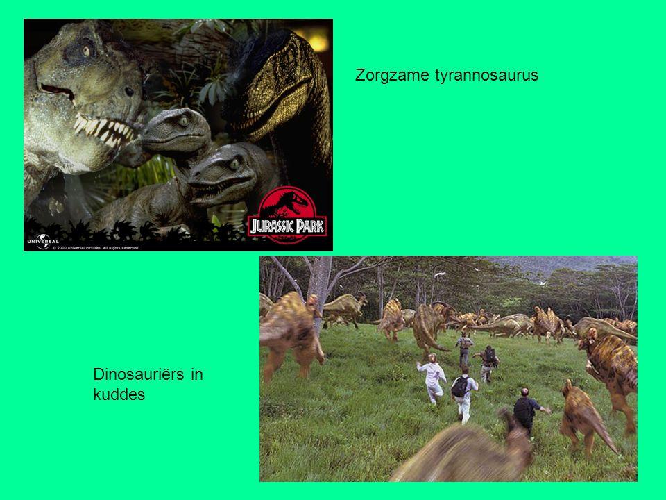 Zorgzame tyrannosaurus Dinosauriërs in kuddes