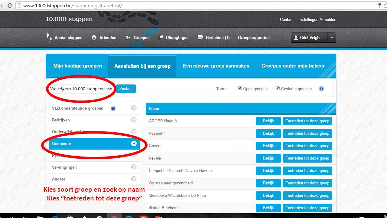Kies soort groep en zoek op naam Kies toetreden tot deze groep Wevelgem 10.000-stappenclash