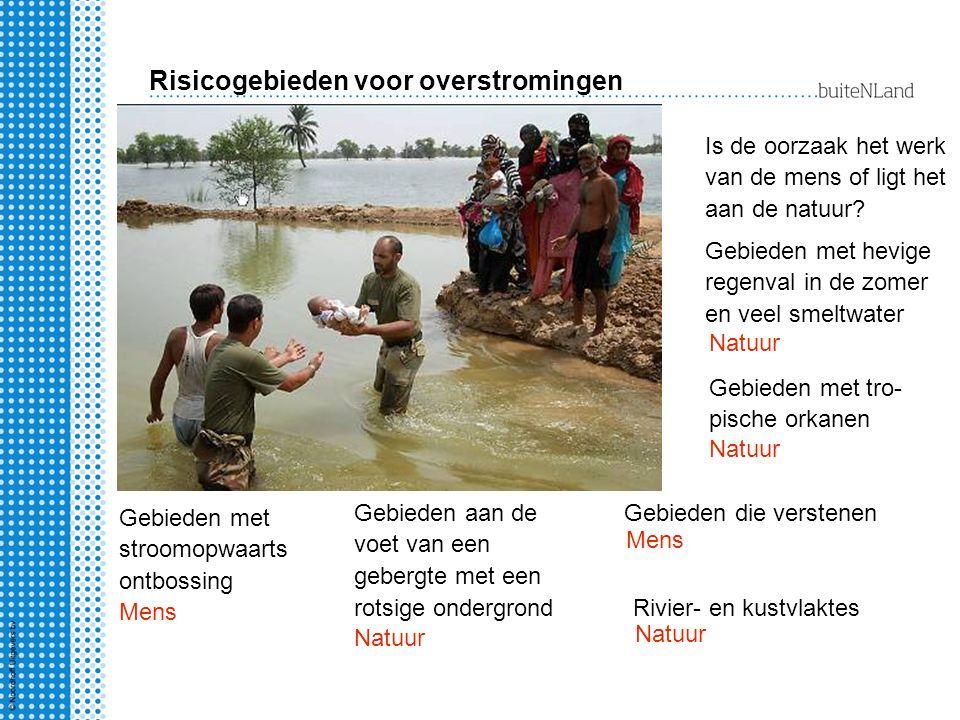 Risicogebieden voor overstromingen Is de oorzaak het werk van de mens of ligt het aan de natuur? Rivier- en kustvlaktes Gebieden aan de voet van een g