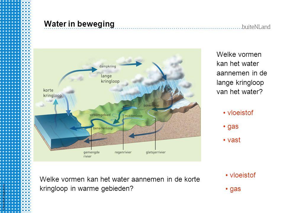 Water in beweging Welke vormen kan het water aannemen in de lange kringloop van het water? vloeistof gas vast Welke vormen kan het water aannemen in d