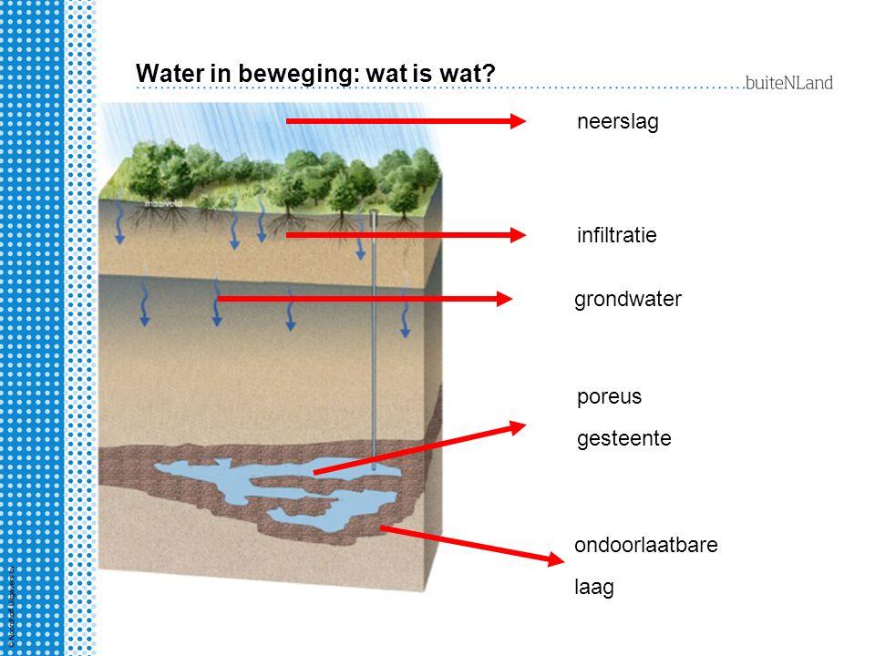 Water in beweging: wat is wat? neerslag infiltratie grondwater poreus gesteente ondoorlaatbare laag