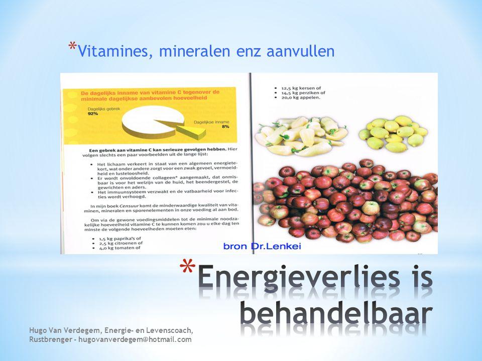 * Vitamines, mineralen enz aanvullen Hugo Van Verdegem, Energie- en Levenscoach, Rustbrenger - hugovanverdegem@hotmail.com