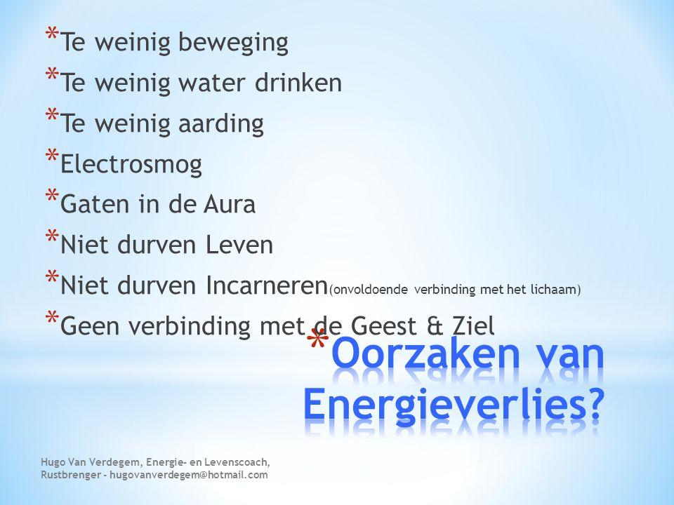 * Bij Energieverlies is er veel Aurabescherming nodig Hugo Van Verdegem, Energie- en Levenscoach, Rustbrenger - hugovanverdegem@hotmail.com