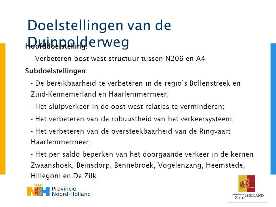 Doelstellingen van de Duinpolderweg Hoofddoelstelling: - Verbeteren oost-west structuur tussen N206 en A4 Subdoelstellingen: - De bereikbaarheid te verbeteren in de regio's Bollenstreek en Zuid-Kennemerland en Haarlemmermeer; - Het sluipverkeer in de oost-west relaties te verminderen; - Het verbeteren van de robuustheid van het verkeersysteem; - Het verbeteren van de oversteekbaarheid van de Ringvaart Haarlemmermeer; - Het per saldo beperken van het doorgaande verkeer in de kernen Zwaanshoek, Beinsdorp, Bennebroek, Vogelenzang, Heemstede, Hillegom en De Zilk.