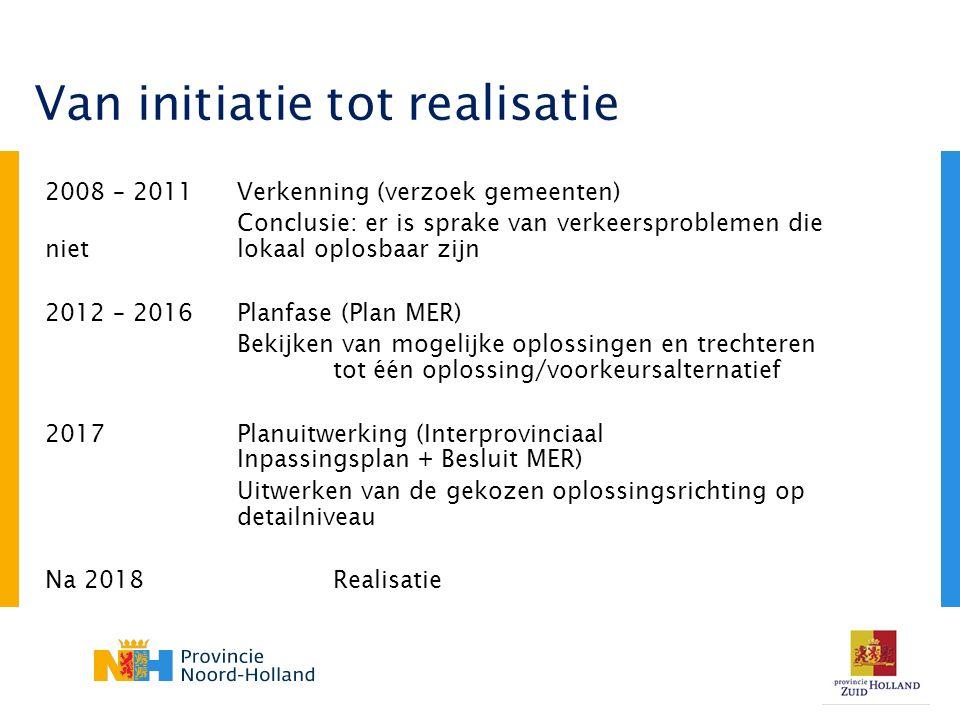 2008 – 2011Verkenning (verzoek gemeenten) Conclusie: er is sprake van verkeersproblemen die niet lokaal oplosbaar zijn 2012 – 2016Planfase (Plan MER) Bekijken van mogelijke oplossingen en trechteren tot één oplossing/voorkeursalternatief 2017Planuitwerking (Interprovinciaal Inpassingsplan + Besluit MER) Uitwerken van de gekozen oplossingsrichting op detailniveau Na 2018Realisatie Van initiatie tot realisatie