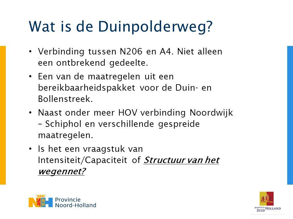 Wat is de Duinpolderweg.Verbinding tussen N206 en A4.