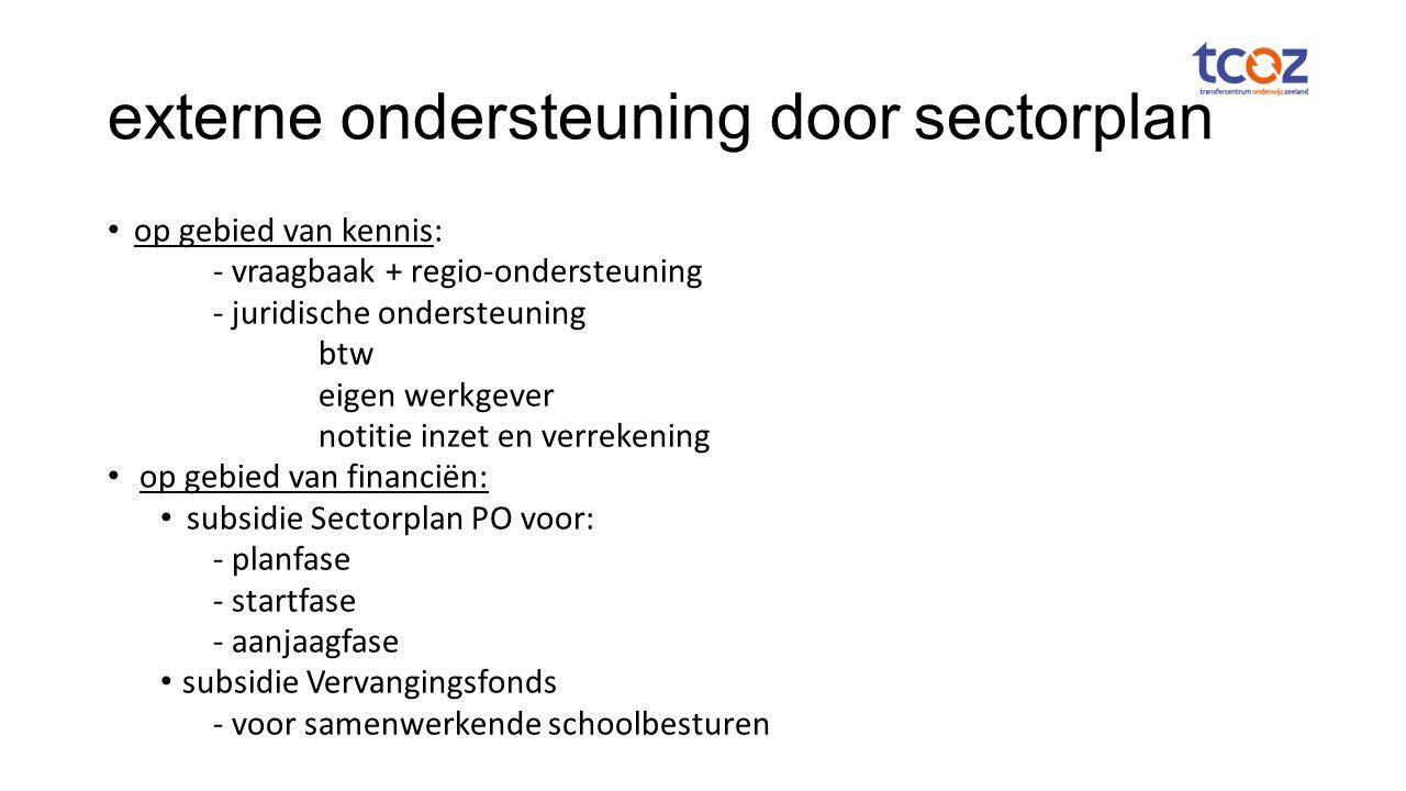 externe ondersteuning door sectorplan op gebied van kennis: - vraagbaak + regio-ondersteuning - juridische ondersteuning btw eigen werkgever notitie inzet en verrekening op gebied van financiën: subsidie Sectorplan PO voor: - planfase - startfase - aanjaagfase subsidie Vervangingsfonds - voor samenwerkende schoolbesturen