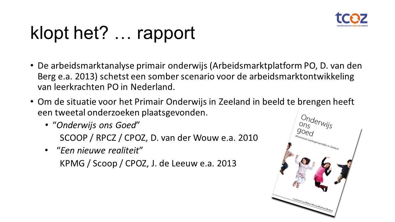 klopt het. … rapport De arbeidsmarktanalyse primair onderwijs (Arbeidsmarktplatform PO, D.