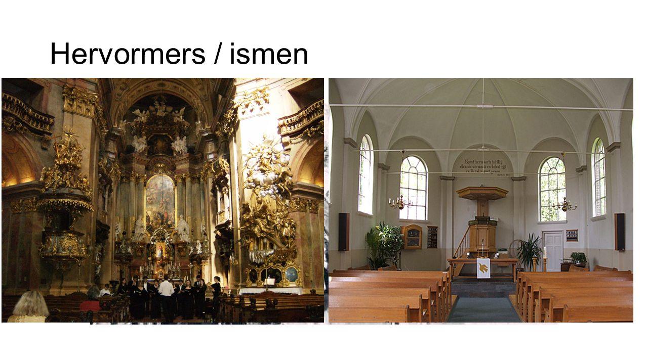 """Hervormers / ismen Hervormer""""isme"""" Maarten LutherLutheranisme Johannes CalvijnCalvinisme Hervormers zorgden voor een schisma binnen de Kerk: Rooms-kat"""