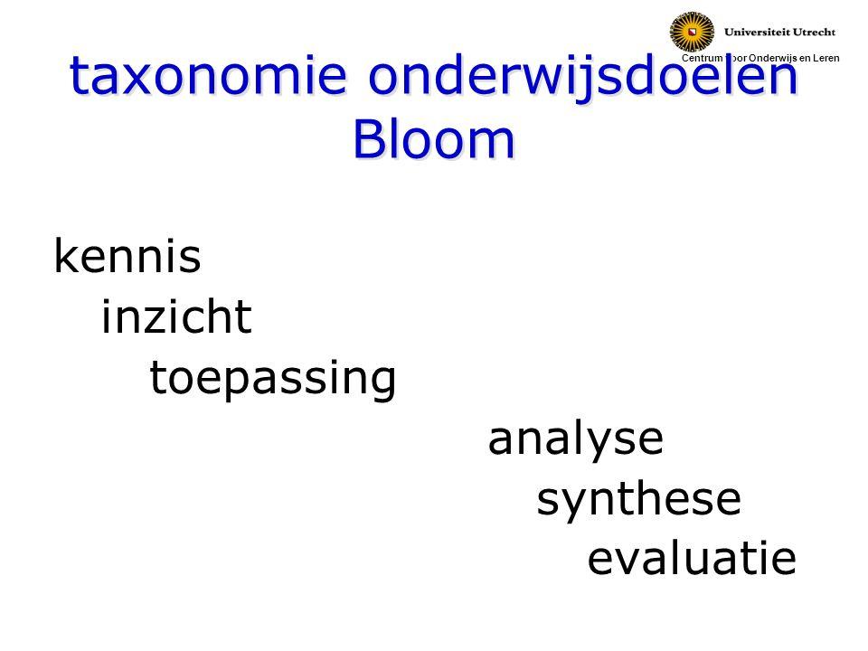 Centrum voor Onderwijs en Leren taxonomie onderwijsdoelen Bloom kennis inzicht toepassing analyse synthese evaluatie