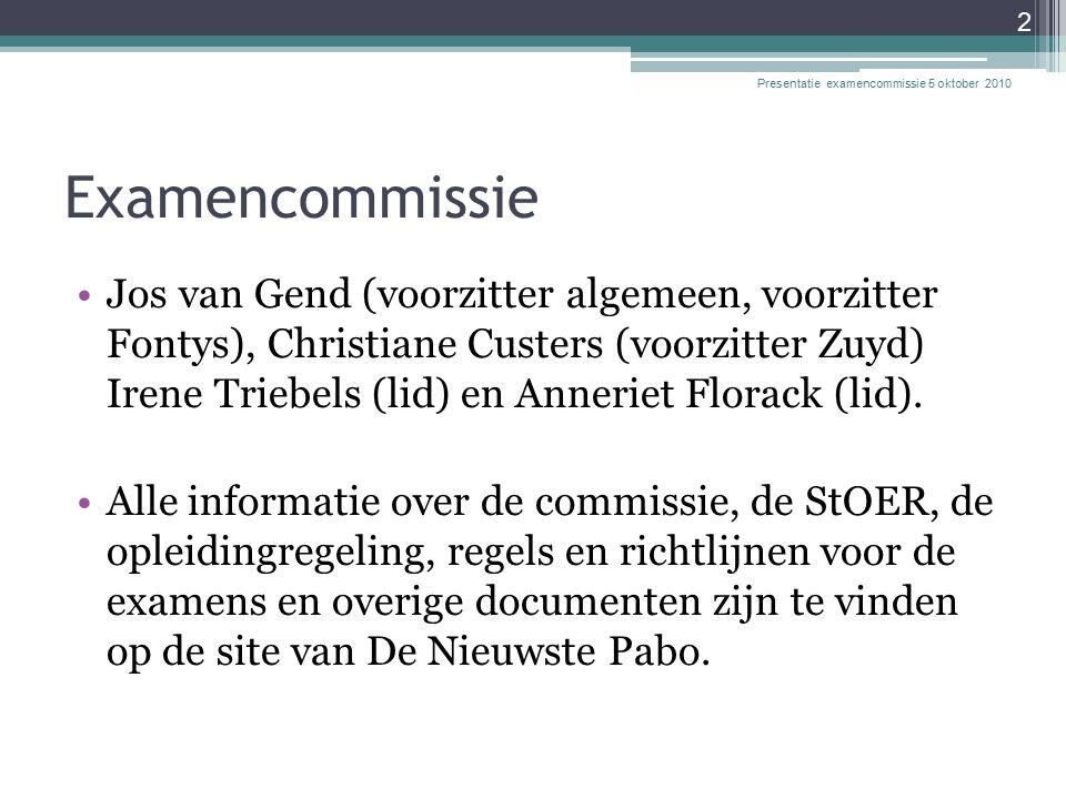 Examencommissie Jos van Gend (voorzitter algemeen, voorzitter Fontys), Christiane Custers (voorzitter Zuyd) Irene Triebels (lid) en Anneriet Florack (lid).