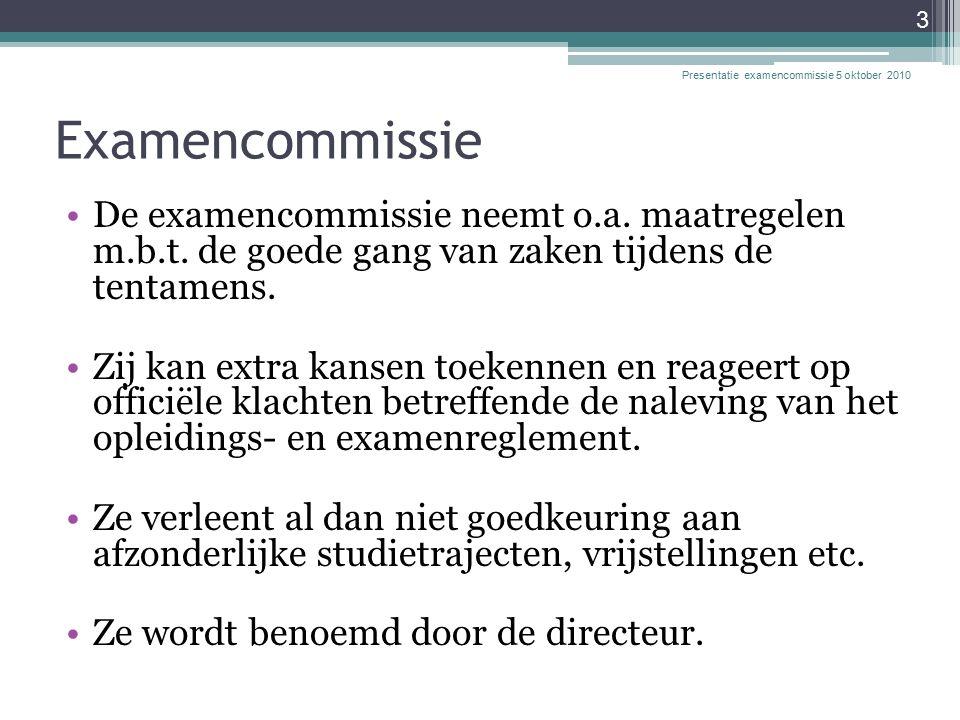 Examencommissie De examencommissie neemt o.a. maatregelen m.b.t.