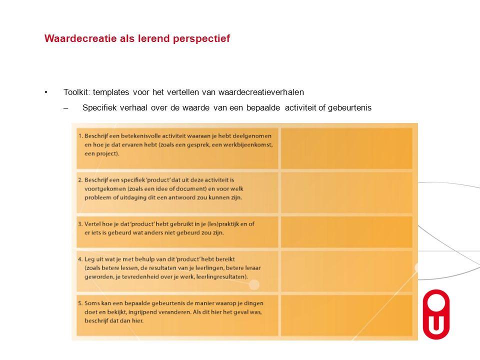 Toolkit: templates voor het vertellen van waardecreatieverhalen –Specifiek verhaal over de waarde van een bepaalde activiteit of gebeurtenis Waardecreatie als lerend perspectief
