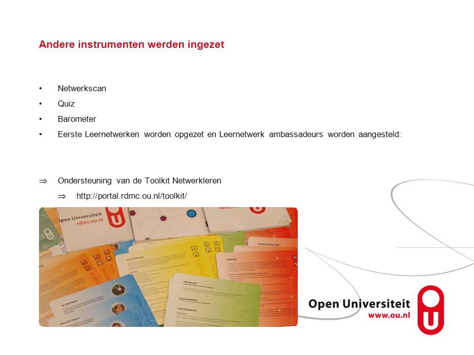 Andere instrumenten werden ingezet Netwerkscan Quiz Barometer Eerste Leernetwerken worden opgezet en Leernetwerk ambassadeurs worden aangesteld:  Ondersteuning van de Toolkit Netwerkleren  http://portal.rdmc.ou.nl/toolkit/