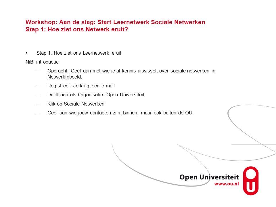 Workshop: Aan de slag: Start Leernetwerk Sociale Netwerken Stap 1: Hoe ziet ons Netwerk eruit.