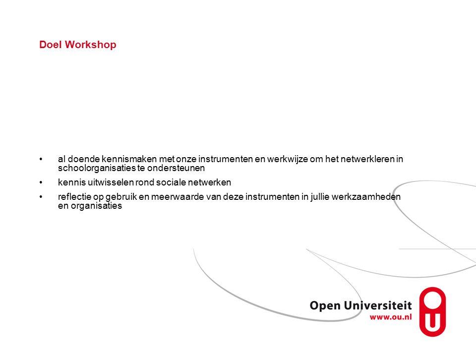 Doel Workshop al doende kennismaken met onze instrumenten en werkwijze om het netwerkleren in schoolorganisaties te ondersteunen kennis uitwisselen rond sociale netwerken reflectie op gebruik en meerwaarde van deze instrumenten in jullie werkzaamheden en organisaties