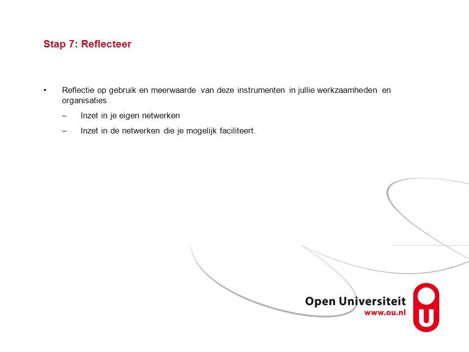 Stap 7: Reflecteer Reflectie op gebruik en meerwaarde van deze instrumenten in jullie werkzaamheden en organisaties –Inzet in je eigen netwerken –Inzet in de netwerken die je mogelijk faciliteert.