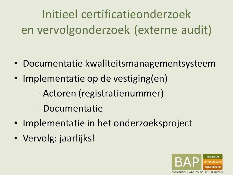 Initieel certificatieonderzoek en vervolgonderzoek (externe audit) Documentatie kwaliteitsmanagementsysteem Implementatie op de vestiging(en) - Actoren (registratienummer) - Documentatie Implementatie in het onderzoeksproject Vervolg: jaarlijks!