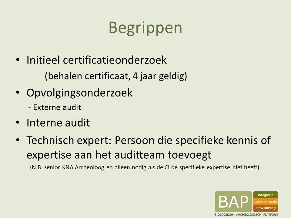 Begrippen Initieel certificatieonderzoek (behalen certificaat, 4 jaar geldig) Opvolgingsonderzoek - Externe audit Interne audit Technisch expert: Persoon die specifieke kennis of expertise aan het auditteam toevoegt (N.B.
