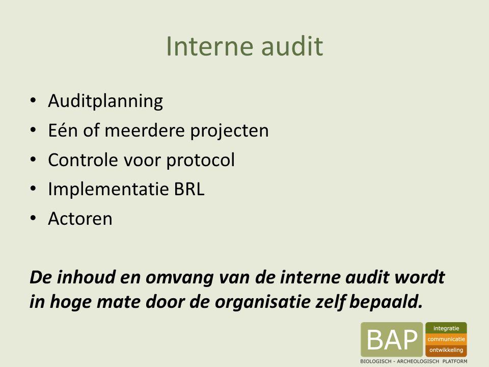 Interne audit Auditplanning Eén of meerdere projecten Controle voor protocol Implementatie BRL Actoren De inhoud en omvang van de interne audit wordt in hoge mate door de organisatie zelf bepaald.
