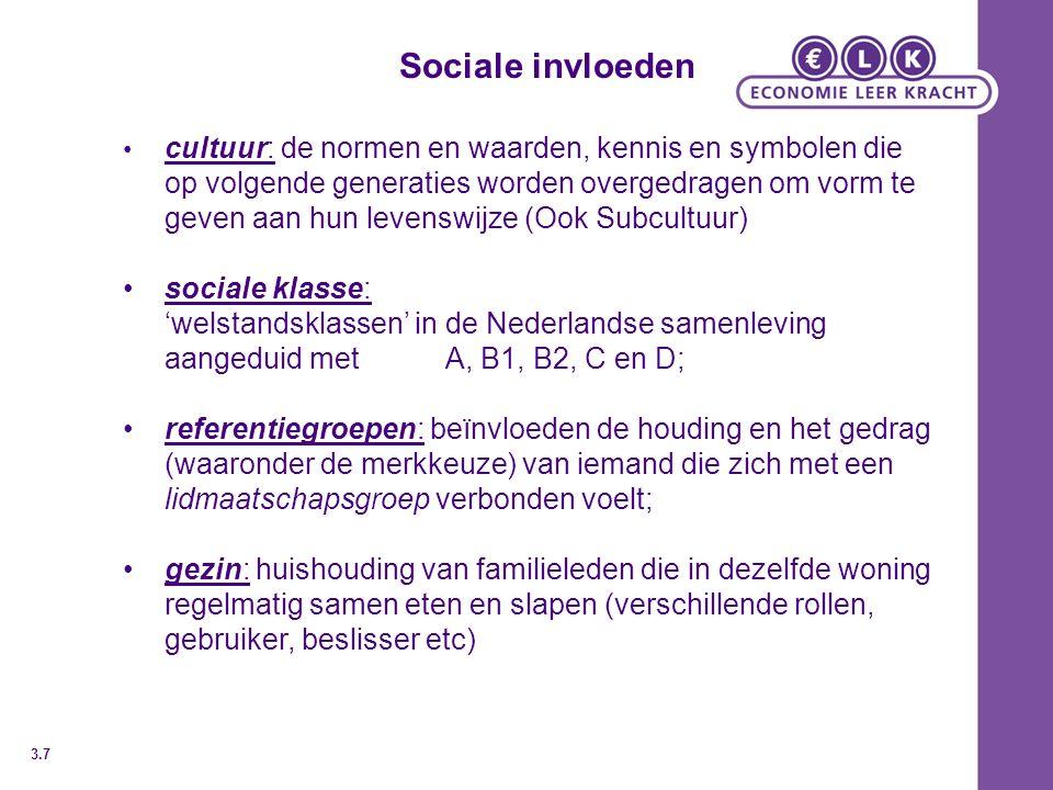 Sociale invloeden cultuur: de normen en waarden, kennis en symbolen die op volgende generaties worden overgedragen om vorm te geven aan hun levenswijz