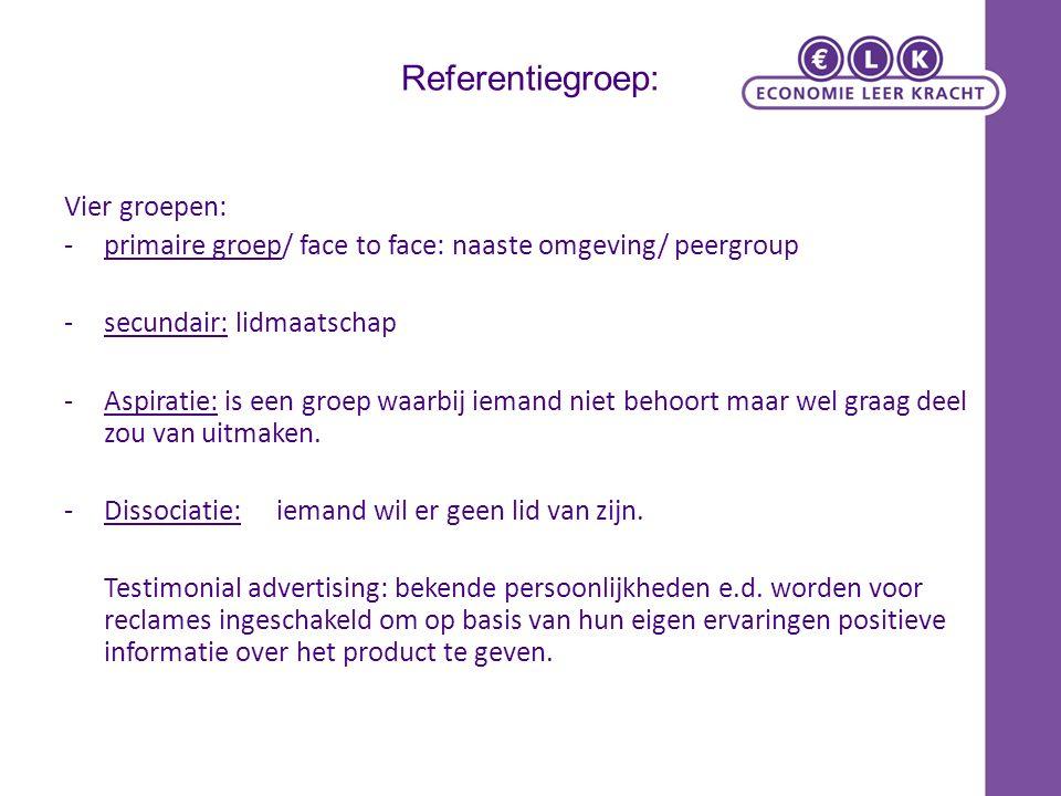 Referentiegroep: Vier groepen: -primaire groep/ face to face: naaste omgeving/ peergroup - secundair: lidmaatschap -Aspiratie: is een groep waarbij ie