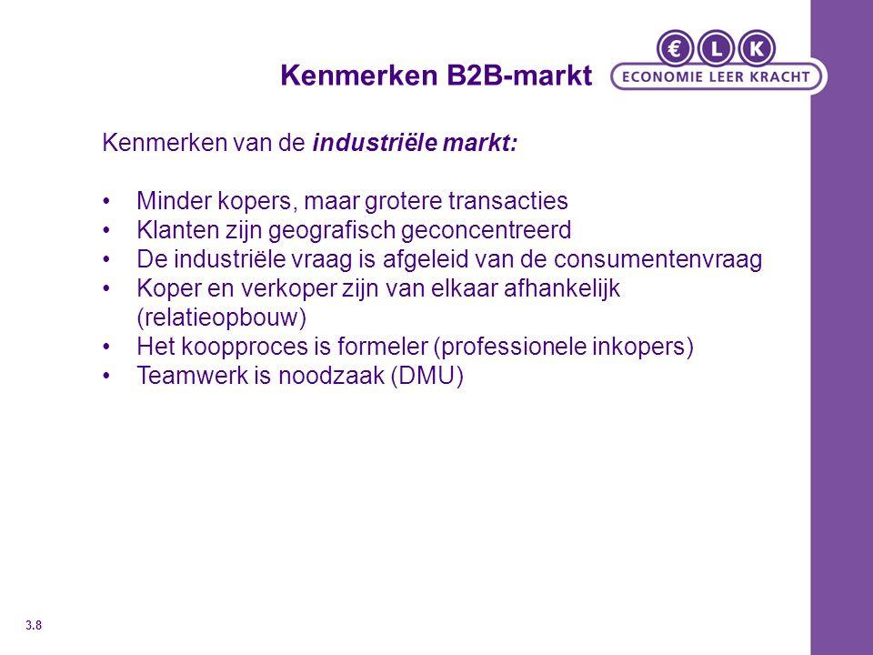 Kenmerken B2B-markt Kenmerken van de industriële markt: Minder kopers, maar grotere transacties Klanten zijn geografisch geconcentreerd De industriële