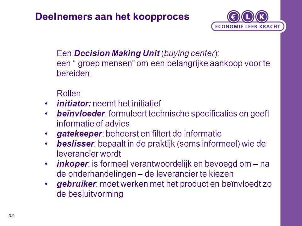 """Deelnemers aan het koopproces Een Decision Making Unit (buying center): een """" groep mensen"""" om een belangrijke aankoop voor te bereiden. Rollen: initi"""