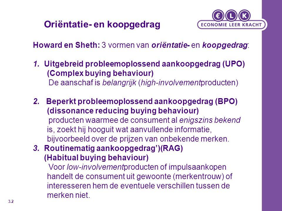 Oriëntatie- en koopgedrag Howard en Sheth: 3 vormen van oriëntatie- en koopgedrag: 1.Uitgebreid probleemoplossend aankoopgedrag (UPO) (Complex buying