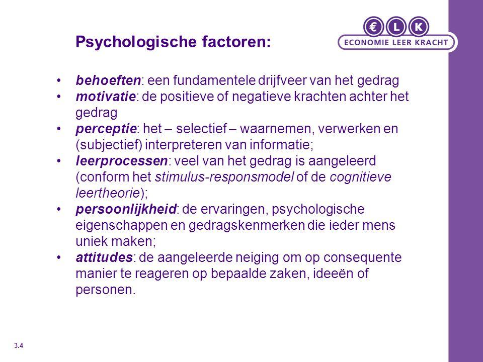 Psychologische factoren: behoeften: een fundamentele drijfveer van het gedrag motivatie: de positieve of negatieve krachten achter het gedrag percepti