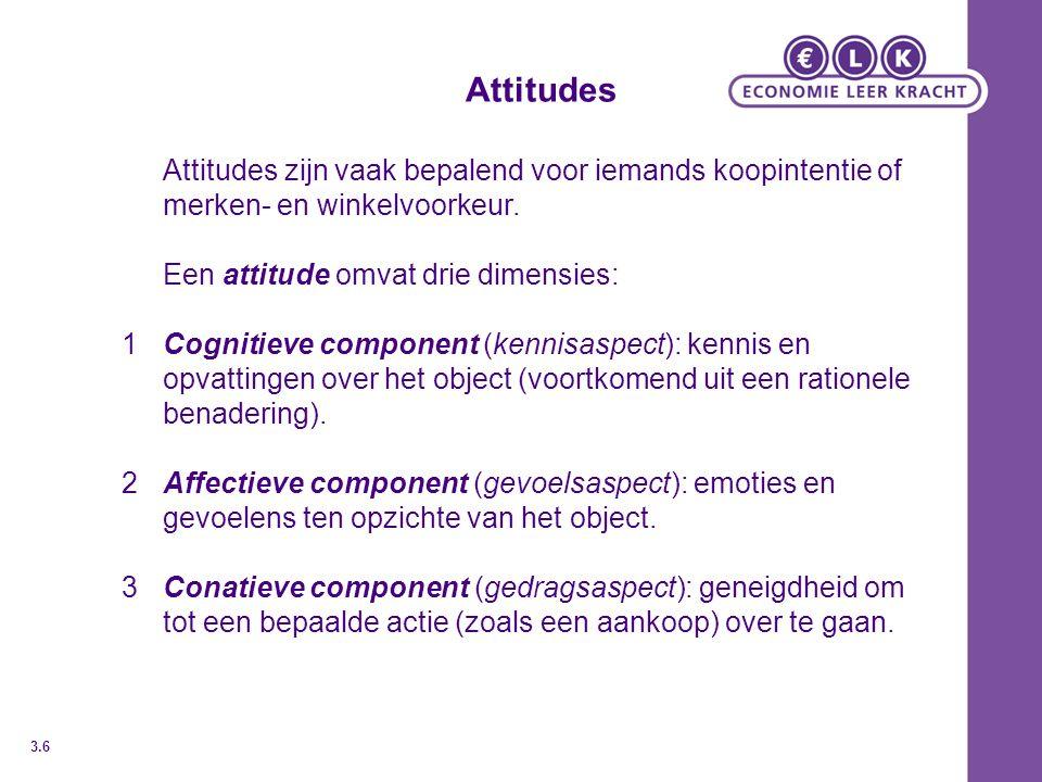 Attitudes Attitudes zijn vaak bepalend voor iemands koopintentie of merken- en winkelvoorkeur. Een attitude omvat drie dimensies: 1Cognitieve componen