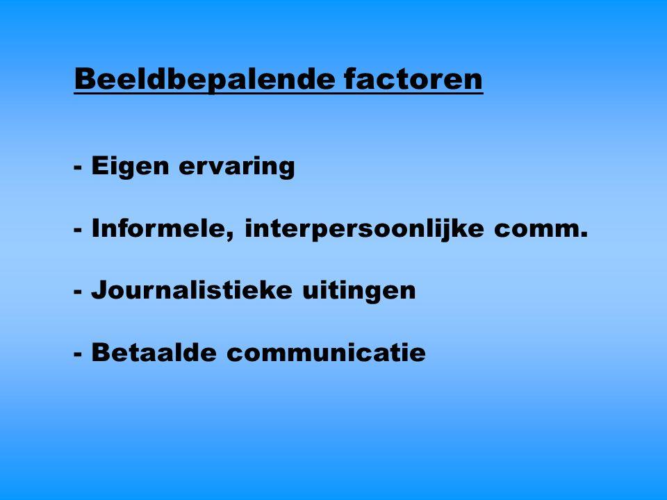 Beeldbepalende factoren - Eigen ervaring - Informele, interpersoonlijke comm.